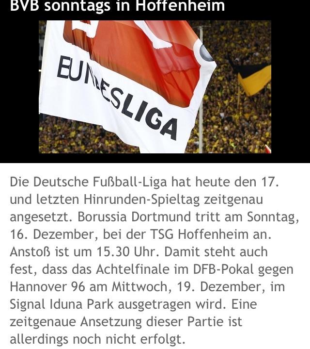 Hoffenheim-Spiel sonntags